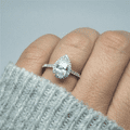 Pear Cut halo Solitaire Engagement Ring